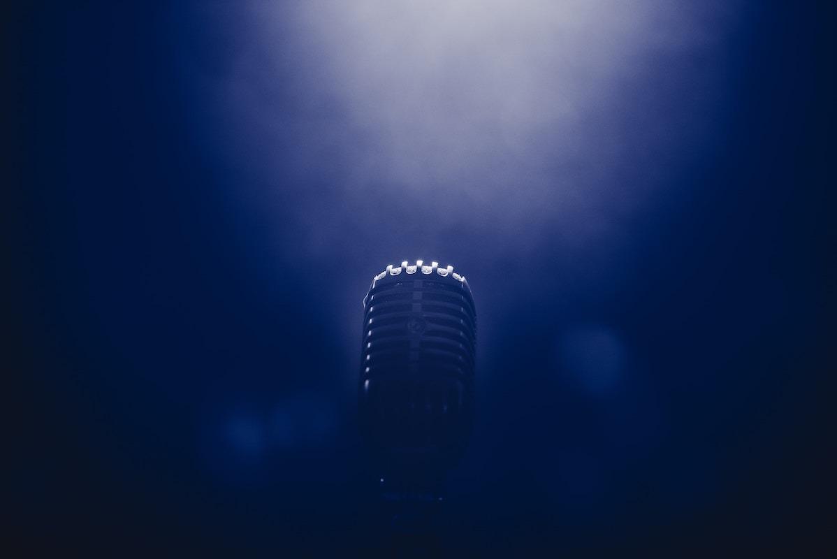 Microphone in dark background