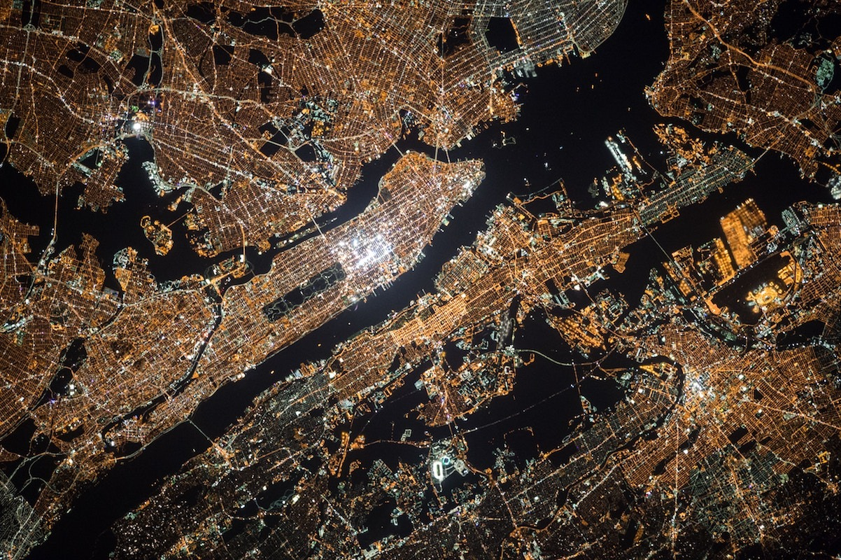 Manhattan grid from space