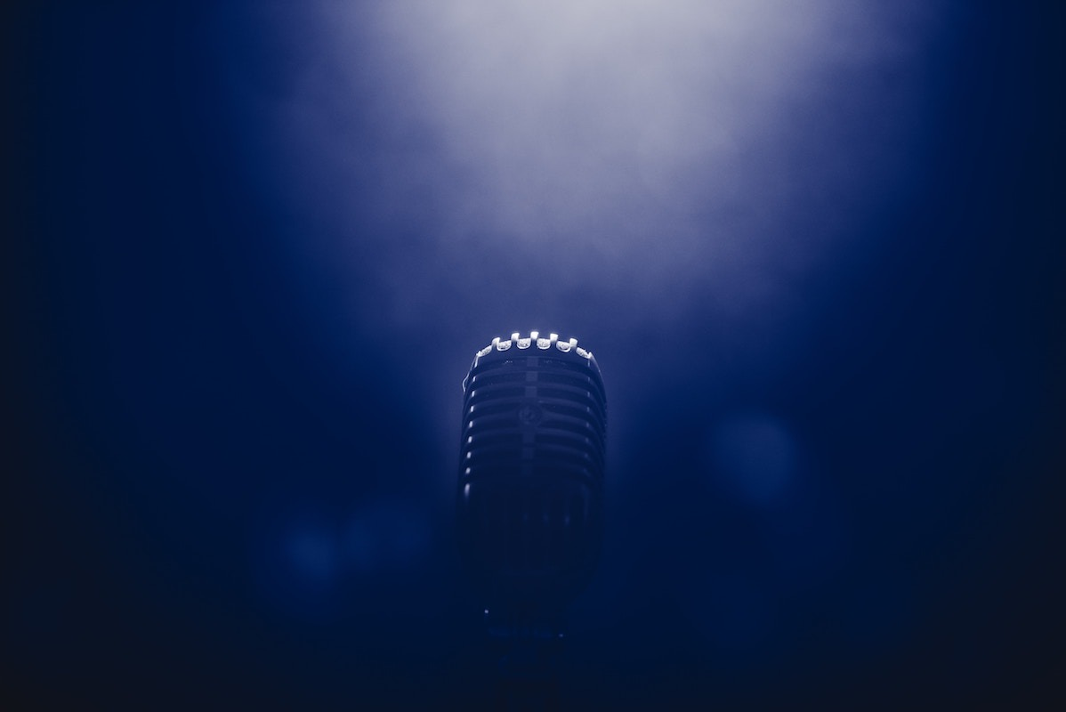 Microphone in dark background