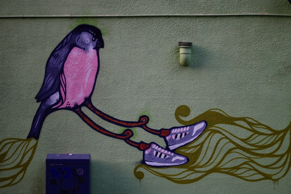 Five Reasons Being a Songwriter Sucks. Purple Bird with Sneakers.
