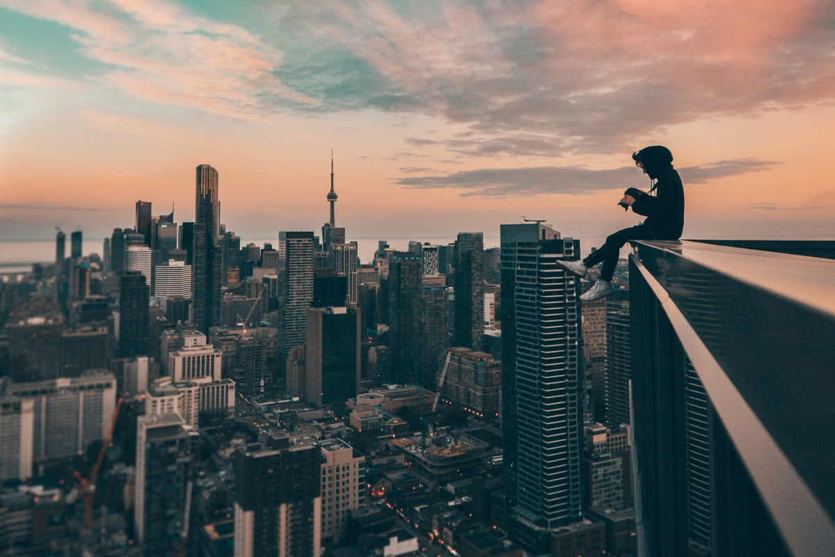 Guy on rooftop in Toronto